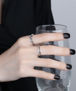 [銅]閃鑽星星不規則波浪線條戒指