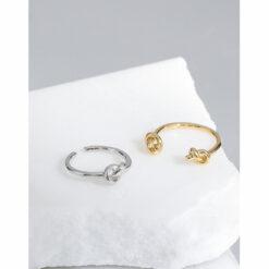 [925純銀]設計感搭繩結戒指
