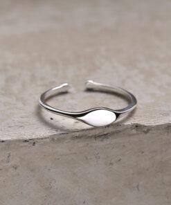 [925純銀]空白印章開口戒指
