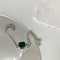 [925純銀]法式複古風綠色鋯石鏈條手鍊