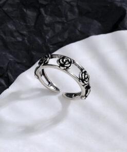 [銅]雙層玫瑰花鏤空戒指
