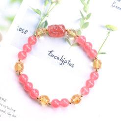 [貔貅+黃水晶]紅草莓單圈DIY手鍊