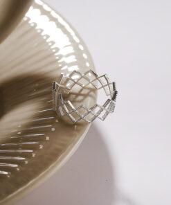[925純銀]簡約精緻菱形網格戒指