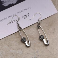 [925純銀]皇冠別針耳環
