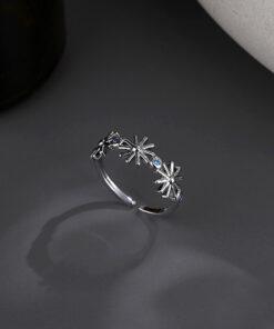 [銅]藍色閃鑽太陽花戒指