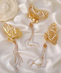 大號金屬珍珠蝴蝶結流蘇發抓髮夾