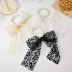 蕾絲大蝴蝶結珍珠彈力頭繩髮圈