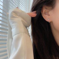[925純銀]蝴蝶結圓珠耳環