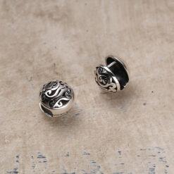[925純銀]復古宮廷風祥雲鏤空圓形耳扣