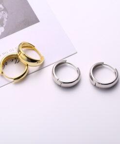 [925純銀]簡約幾何圓形耳扣