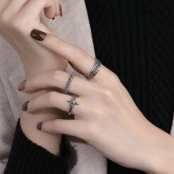 [銅]復古幾何編織螺旋戒指