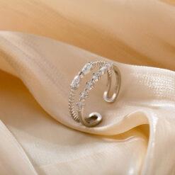 [銅]雙層鋯石蝴蝶結戒指