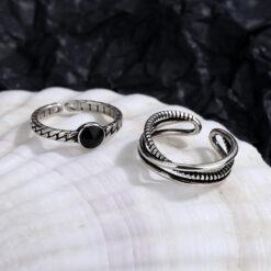 [銅]復古交叉麻花黑色雙層開口戒指