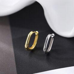 [925純銀]簡約百搭幾何U形耳扣