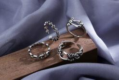 [銅]復古幾何開口戒指