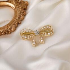 珍珠水鑽蝴蝶結髮夾