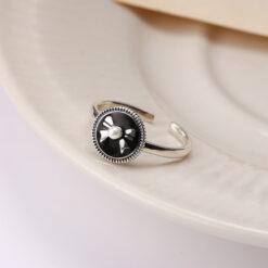 [925純銀]復古做舊圓牌黑色滴釉蝴蝶結戒指