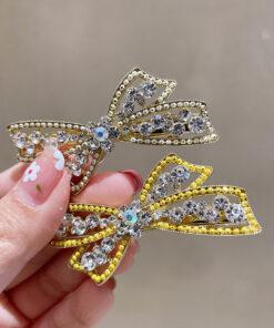 蝴蝶結雙色串珠鴨嘴夾髮夾