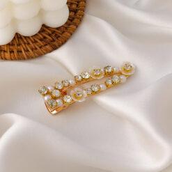 復古精緻貝殼花朵珍珠水鑽髮夾