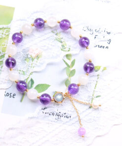 [紫水晶+藍月光]珍珠薰衣草吊墜手鍊