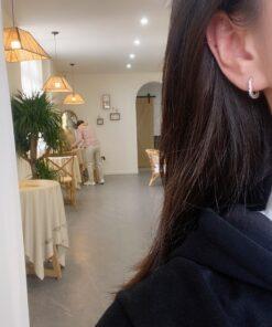 [925純銀]不規則橢圓紋理耳扣