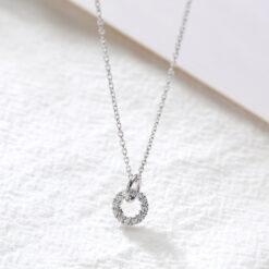 [925純銀]簡約幾何圓圈項鏈