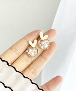 S[925銀針]氣質珍珠愛心耳釘