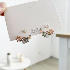 [925銀針]小清新花朵滴油耳釘