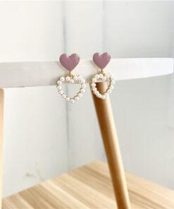 [925銀針]甜美愛心珍珠耳墜