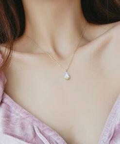 [鋼針復古水滴鋯石項鏈耳環