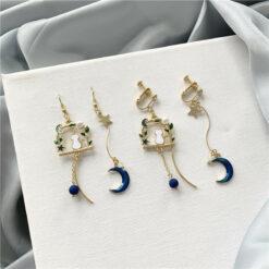 [鋼針]星空貓咪不對稱耳環
