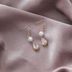[鋼針]復古珍珠鋯石水滴耳環