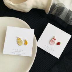 [鋼針]百搭水果滴油耳環