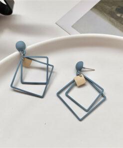 [925銀針] 氣質幾何方形耳釘