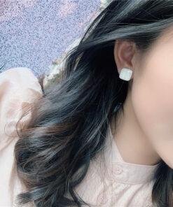 [925銀針]氣質幾何滴油耳釘