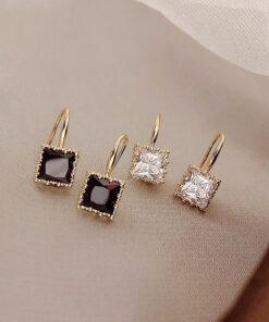[鋼針]百搭方形鋯石耳環