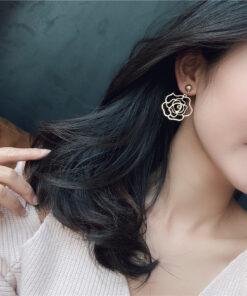 [鋼針]玫瑰花耳环