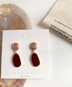 [鋼針]復古酒紅色滴油耳環