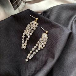 [925銀針]氣質水晶珠流蘇耳釘