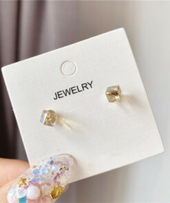 [925銀針]溫柔玻璃珠耳釘