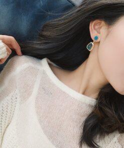 [鋼針]可愛藍色湖泊耳環