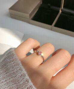 [925純銀]小眾愛心鑲鉆戒指