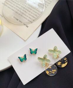 [鋼針]清新蝴蝶花朵耳釘