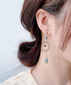 [925銀針]優雅水滴月亮耳環