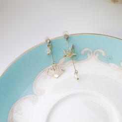 [925銀針]古風千紙鶴折扇耳環