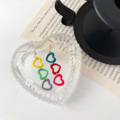 [鋼針]甜美愛心彩虹耳環