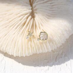 [925純銀]貝殼海星不對稱耳釘