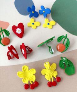 [鋼針]設計滴油花朵耳環