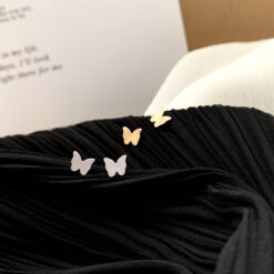 [925銀針]極簡小蝴蝶耳釘