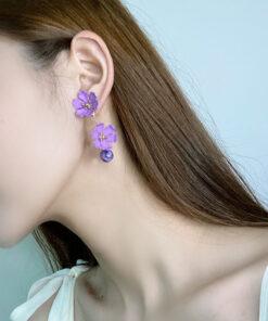 [鋼針]烤漆花朵耳環
